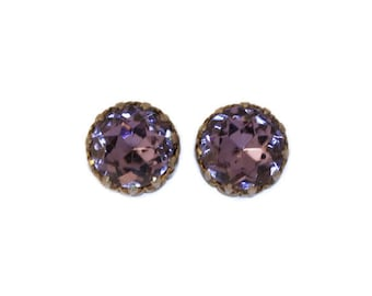 RESERVE Large Purple Rhinestone Earrings