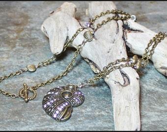 Tide Washed... Handmade Jewelry Necklace Beaded Antique Brass Metal Chain Crystal Beach Ocean Seashell Sea Shell Clam Boho Bohemian Earthy