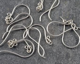 handmade sterling silver earwires - classic swan hook - five pairs