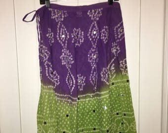 Dip dyed Purple/green Indian Skirt