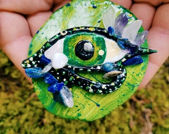 Anahata Heart Chakra Protective Amulet, Altar Offering with Amethyst, Rose Quartz, and Lapis Lazuli