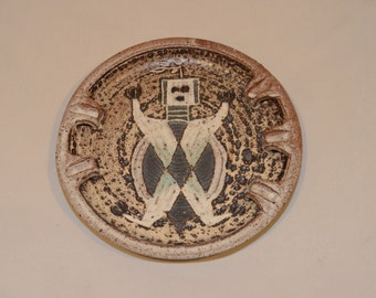 Vintage Iris Barna Studio Pottery Ashtray with Native American Design Motif - Southwestern US 1960s