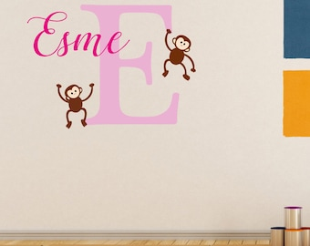 Colourful cheeky monkeys design personalised initial and name wall art sticker decal, children's bedroom, playroom