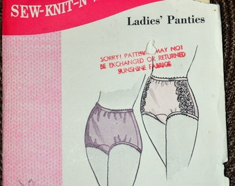 Panties Sewing Pattern Sew Knit n Stretch 201 Misses' Panties Size 4-5-6  Hips 30-33 inches  Uncut Complete