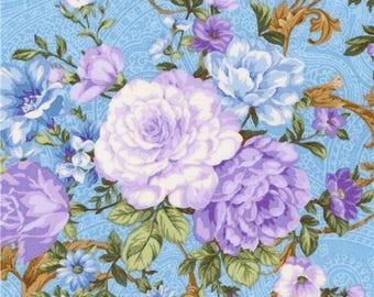 219131 blue Robert Kaufman fabric flower Lady Elizabeth
