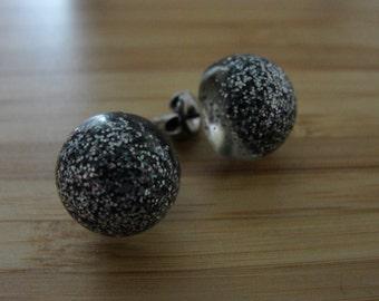Fine Silver Glitter Earrings