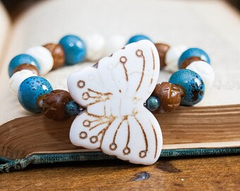 Boho Chic Butterfly Stretch Bracelet Stacking Wood Ceramic Howlite Stone Carved Bone Beads White Brown Blue Fall