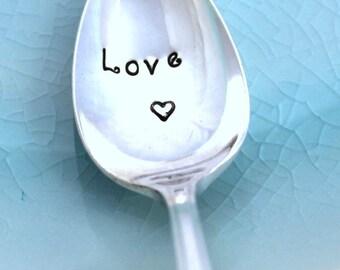 Hand Stamped Spoon PETITE Demitasse - LOVE - Duchess 1923 - Mother's Day - Wedding Decor - Valentine's Day 4.25 in