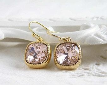 Swarovski Earrings ~ Vintage Rose ~ Gift for Her ~ Cushion Cut ~ Light Rose Earrings ~ Light Salmon Pink ~ Simple Modern