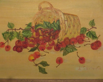 Vintage Oil painting of Cherries on canvas signed  w/ free ship