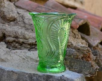 Glass vase, Green glass vase, Vintage glass vase, Vintage large vase, Table decor, Flowers vase, Art vase, Vintage vase, Green vase