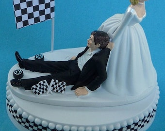 Wedding Cake Topper Checkered Flag Tires Auto Car Racing Fan Groom Themed w/ Bridal Garter Bride Automotive Race Sport Hobby Humorous Funny