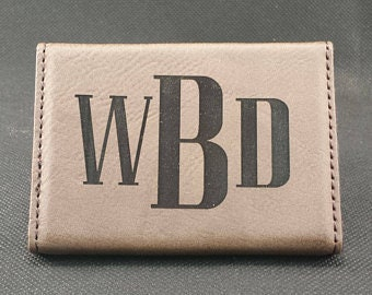 Engraveable Leatherette Hard Business Card Holder, Personalized Gifts, Customizable Card Holder, Promotional Products,