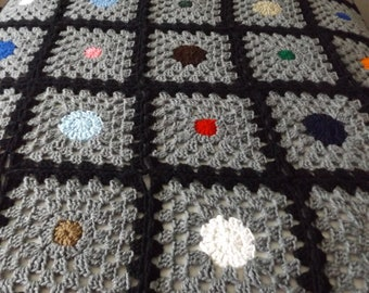 New Handmade crocheted afghan, throw, Granny square with a circle  ,   ready to ship