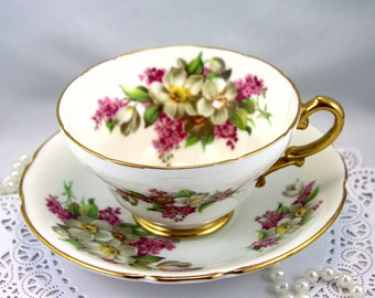 Lovely, Stanley Teacup & Saucer,Delicate Floral Pattern, Gold Rims, Bone English China made in 1960s.