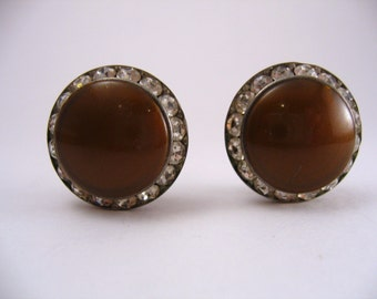 Vintage Coro signed Earrings Chocolate Brown Thermoset and Rhinestone 1940s