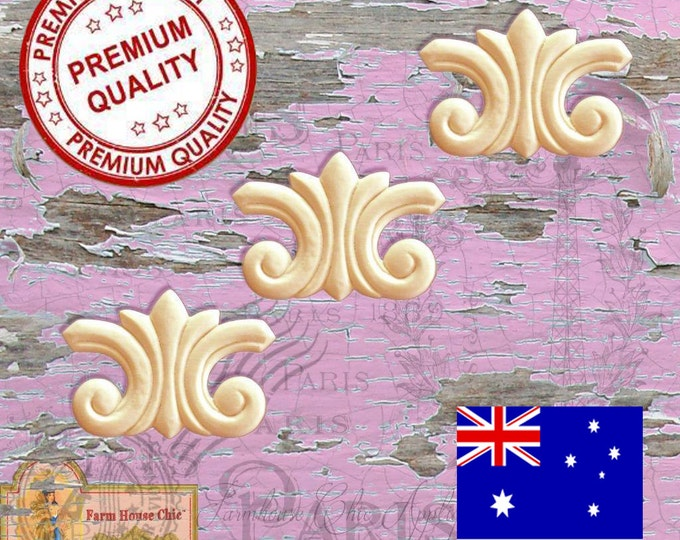 Shabby Chic French Provincial 3 x Furniture Appliques Resin Mouldings. Furniture Applique, Decorations, DIY French Style Furniture
