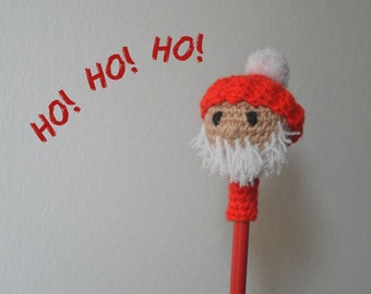 Amigurumi Santa Clause pencil topper, crochet Holiday Santa's head pencil cozy, Christmas gift, Stocking gift