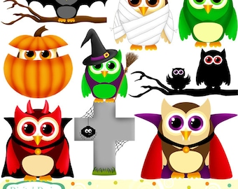 Halloween Owls clip art set, 10 designs. INSTANT DOWNLOAD for Personal and commercial use.