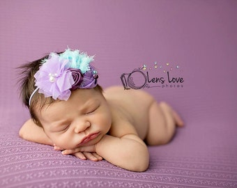 Lavender and Aqua headband, purple flower headbands, aqua headbands, baby headbands, newborn headbands, photography prop