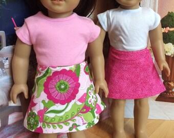 Girl Doll Reversible Wrap Skirt, 18 inch doll clothes 15 inch doll skirt doll clothes Lilly flower fabric American doll by Sweet Pea Kidz