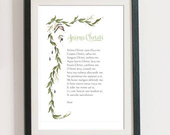 Anima Christi prayer in English and Latin, watercolor vines, Catholic art print