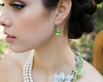 Bridal pearl and crystal necklace, Statement Bridal necklace, Wedding Rhinestone necklace, swarovski crystal and ivory pearl necklace, ANNIE