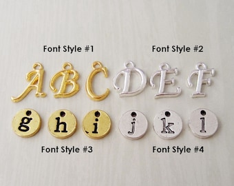 Initial Charms - Add a Letter Charm - Choose from 4 Styles - Round Lowercase Charms or Fancy Font