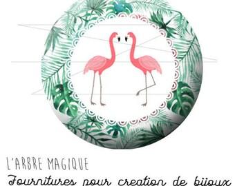 2 cabochons glue Flamingo Palm tree tropical tropic ref 1895 glass 20 mm.