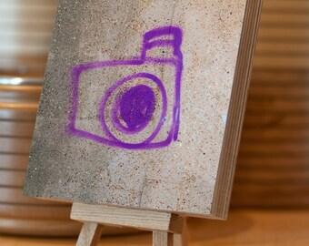 Graffiti Photo Block Birch Plywood 14.5x14.5 cm stencil purple camera drawing photograph freestanding stacking home decor stocking stuffer