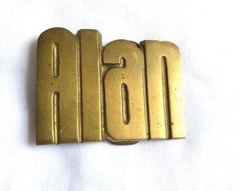 Vintage Baron Solid Brass Belt Buckle, Personalized Name Alan