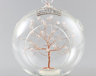 7th Anniversary Gift Personalized Ornament Copper with Clear Swarovski Crystal Elements Rush Available