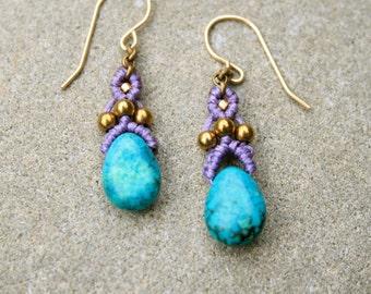 turquoise earrings, small macrame earrings, dangle earrings, purple earrings, hippy earrings, bohemian earrings, ethnic earrings, dainty