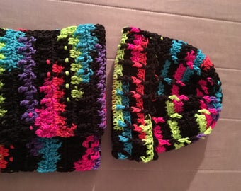 Crochet Cuffed Hat and Scarf set