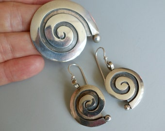 Mexico Sterling Spiral Earrings Brooch Vintage