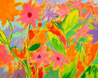 Spring Mirth 3, 18x24, original painting, whimsical flower painting, bright art, colorful flower art, tropical painting, Florida painting