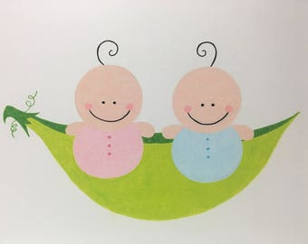Twin Boy and Girl in a Pea Pod