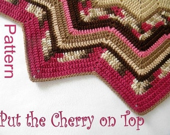 PDF Pattern Crocheted 12-Pointed Star Blanket Put the Cherry on Top Magenta and Brown Design