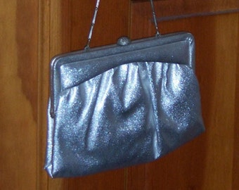 silver starlet metallic evening bag clutch purse by Miss Lewis