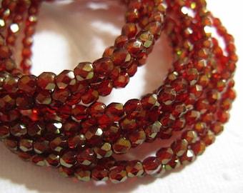 3mm Fire Polish Czech Glass Beads - Cherry Gold Luster - 50 beads