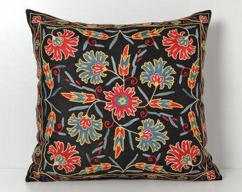 suzani pillow black floral pillow decorative pillow floral pillow throw pillow housewares accent pillow cover black pillow sofa pillow