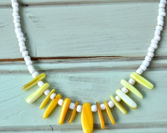 Yellow Shell Beaded Necklace- Beaded Necklace- Yellow Necklace- White Necklace- Boho Necklace- Boho jewelry- Beach Necklace- Gift for her