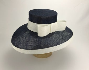 Navy and White Wide Brim Sinamay Hat