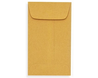 No. 4 Coin Envelopes (3 x 4 1/2) - Brown or White Kraft - PIck A Color - Quantity of 50