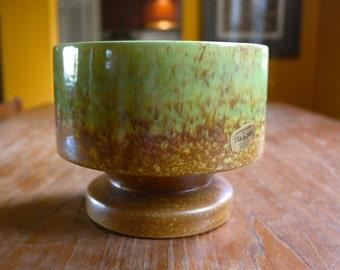 RESERVED~~~~~~~~~~~Vintage Haeger Ceramic Pedastal Planter Spring Green Caramel Brown Mottled Drip 42 Footed Plant