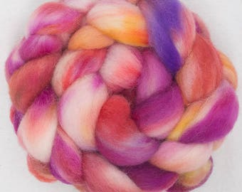 Cheviot, hand dyed roving, tops, fibre, felting materials, felting projects,  spinning wool, hand spin, needle felting, Passion