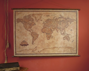 """Pull down canvas world map, Large canvas wall map, 105 x 75 cm / 41.3"""" x 29.5"""", Canvas scroll map, Handmade classy map, Scroll fantasy map"""