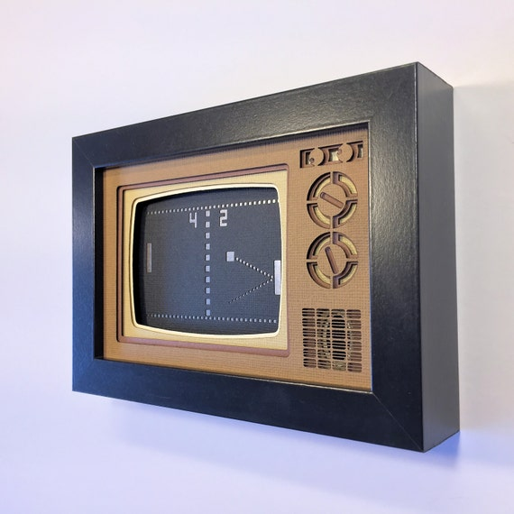 Pong Papercraft Shadowbox 4x6 Classic Retrogaming Art