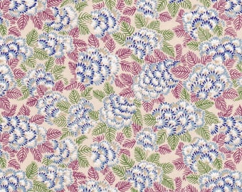 NEW - Chiyogami or yuzen paper - feathery chrysanthemums - cornflower blue and cranberry with delicate gold accents on taupe, 9x12 inches