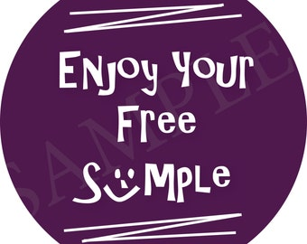 AUTHORIZED SCENTSY VENDOR Purple Scentsy Sticker, Enjoy Your Free Sample Round Sticker, set of 12